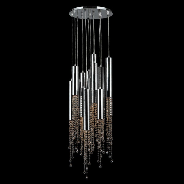Metropolis D16-inch H50-inch 15-light Chrome Finish Golden Teak Crystal LED Ceiling Light