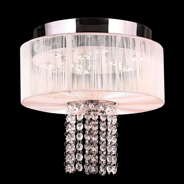 Alice D12-inch H10-inch Chrome Finish Clear Crystal 5 LED Bulb White Shade Flush Mount