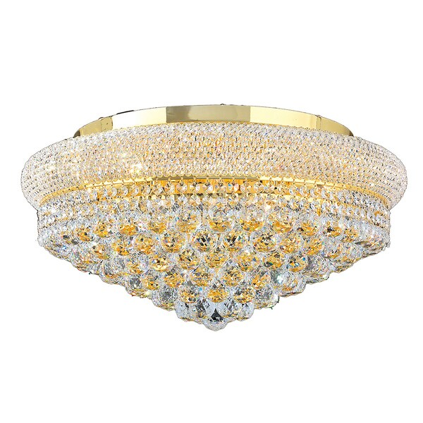 Empire D24-inch x H12-inch 12 Light Gold Finish Clear Crystal Ceiling Light