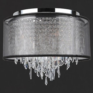 Tempest D16-inch xH14-inch 5-light Chrome Finish Clear Crystal Black Organza Shade Ceiling Light