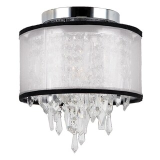 Tempest D8-inch xH11-inch Single-light Chrome Finish Clear Crystal White Organza Shade Ceiling Light