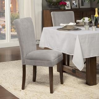 HomePop Dove Grey Velvet Parson Chairs (Set of 2)
