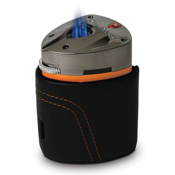 Tonino Lamborghini Mugello Orange Triple Torch Table Lighter with Leather Case (Ships Degassed)