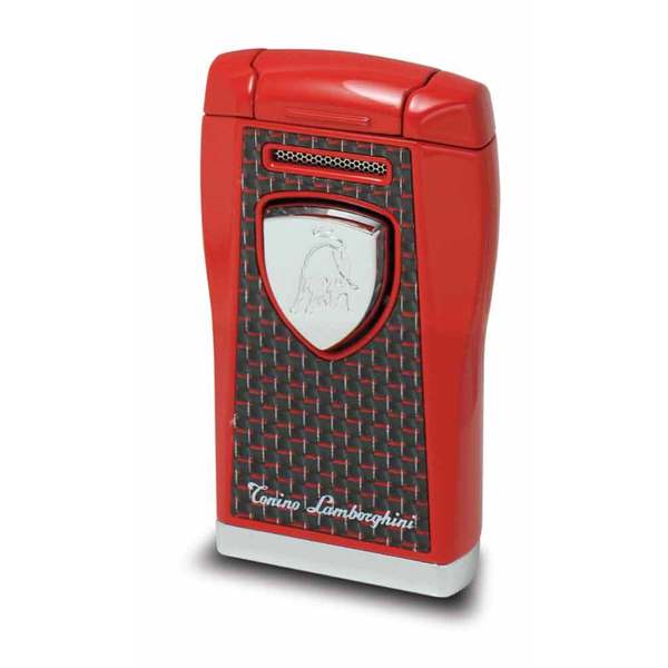 Tonino Lamborghini Argo Lighter - Red with Black & red Carbon Fiber (Ships Degassed)