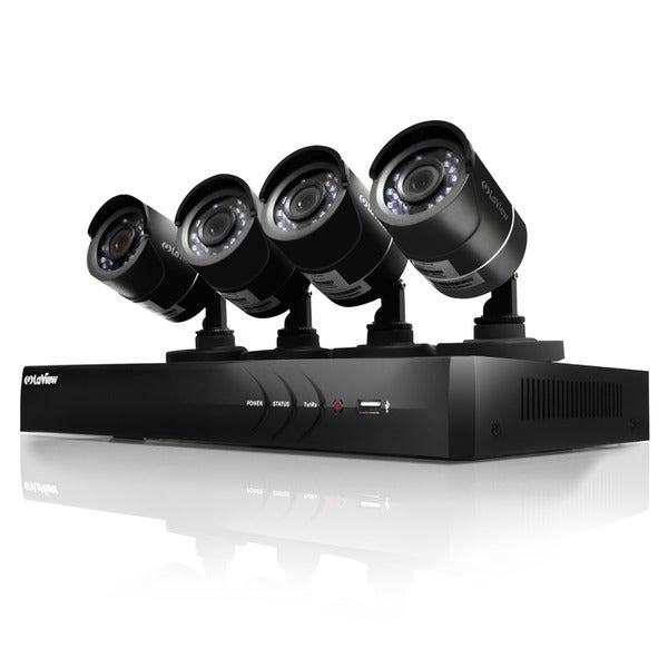 LaView 4-channel 720p Analog/ IP 1TB DVR Security Surveillance System with Four 720p Cameras