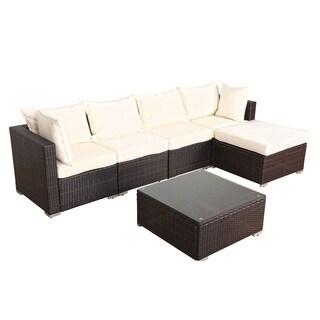 Kokols New Outdoor Rattan Garden Wicker 6-piece Sofa Sectional Patio Furniture Set