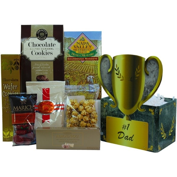 #1 Dad Food and Snacks Trophy Gift Basket 15691437