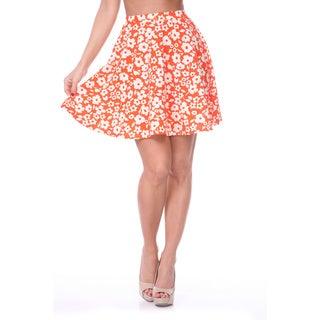 White Mark Women's Solid Color Flared Mini Skirt (Orange)