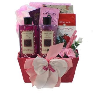 Tranquil Delights Spa Bath and Body Gift Set Basket with Tea (Rose)