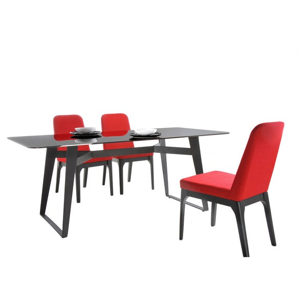 Modrest Comet Modern Black Glass Dining Table