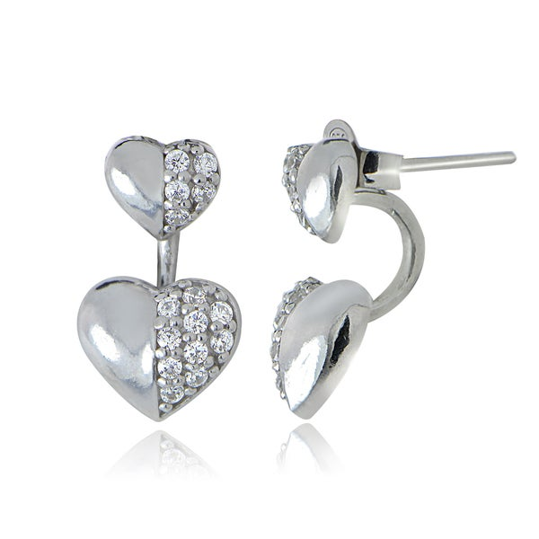 Icz Stonez Sterling Silver Cubic Zirconia Front-Back Heart Earrings