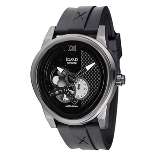 Egard Men's PSG-BLK Passages Limited Edition Oval Black Rubber Strap Watch