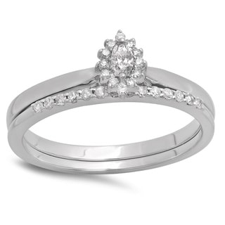 10k White Gold 1/4ct TDW Marquise and Round Diamond Halo Bridal Ring Set (H-I, I1-I2)