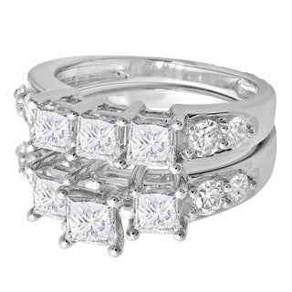 14k White Gold 3 1/10ct TDW Princess and Round Diamond 3-stone Bridal Ring Set (H-I, I1-I2)