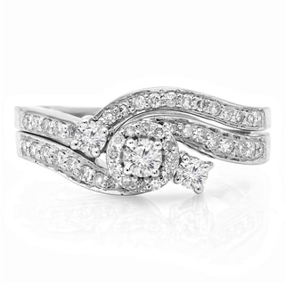 14k White Gold 5/8ct TDW Round Diamond Bridal Ring Set (H-I, I1-I2)
