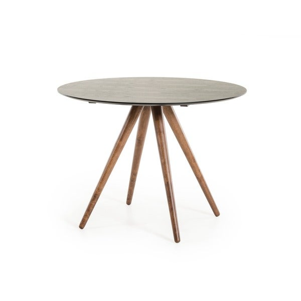Modrest Tracer Contemporary Black And Walnut Round Mid Century Style Dining