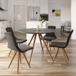 Modrest Tracer - Contemporary Black and Walnut Round Mid-century Style Dining Table