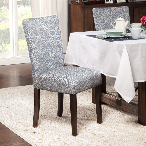 HomePop Navy and Cream Modern Floral Parson Chairs Set of
