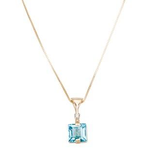 14k Yellow Gold Blue Topaz And Diamond 16-inch Pendant Necklace (H-I, I1-I2)