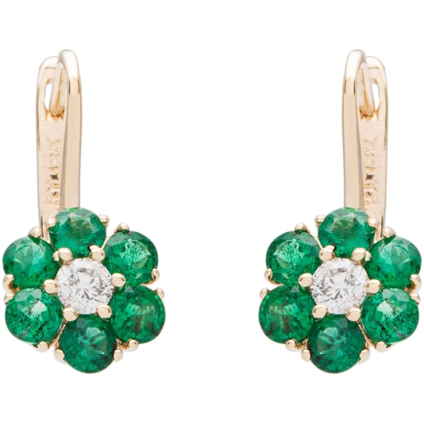 14k Gold Emerald And 1/3ct TDW Diamond Flower Earrings (H-I, I1-I2)