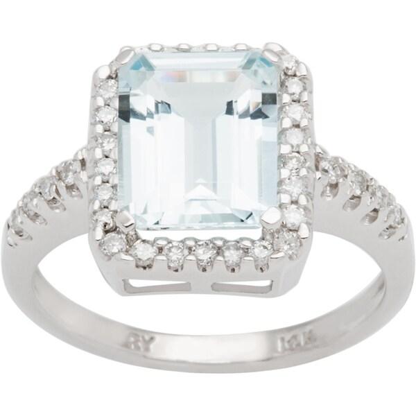 14k White Gold Aquamarine And 3/8ct TDW Diamond Ring (H-I, I1-I2)