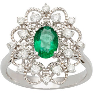 14k Yellow Gold Emerald And 1/2ct TDW Diamond Estate Look Ring (H-I, I1-I2)