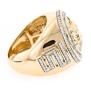 Luxurman 14k Gold Men's 1 7/8ct TDW Diamond Medusa Ring (G-H, SI1-SI2)
