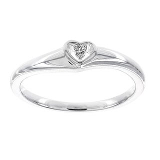 H Star Sterling Silver .02ct Diamond Heart Promise Ring (H-I, I1-I2)
