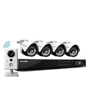 LaView 8 Channel 1080p IP True PoE NVR with 2TB HDD, (1) WiFi 1080p, (4) 1080p IP Full Motion Night Vision Cameras, and App