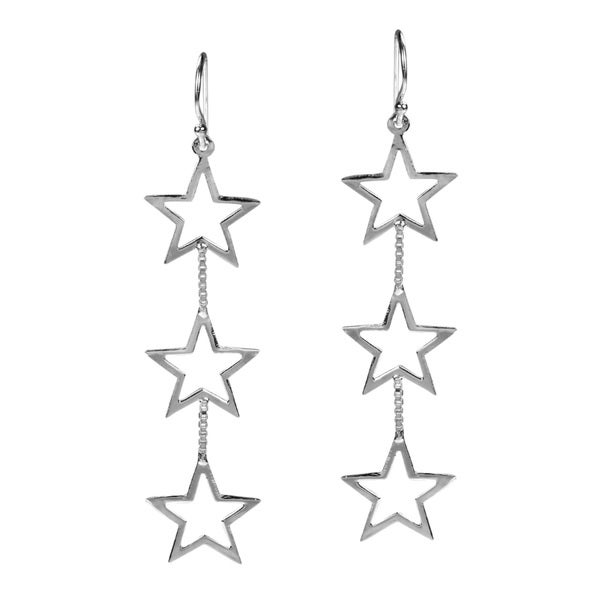 Triple Open Star Link 925 Sterling Silver Dangle Earrings (Thailand)
