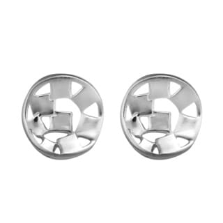 Abstract Scattered Squares Button .925 Silver Post Earrings (Thailand)