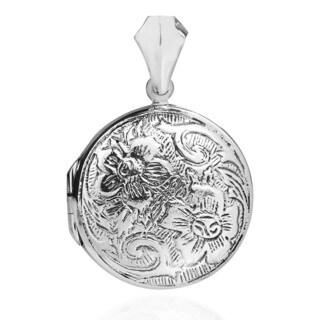 Vintage Inspired Floral .925 Sterling Silver Locket (Thailand)