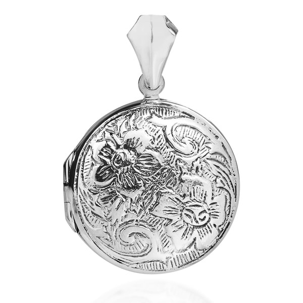 Handmade Vintage Inspired Floral .925 Sterling Silver Locket (Thailand) 15692609