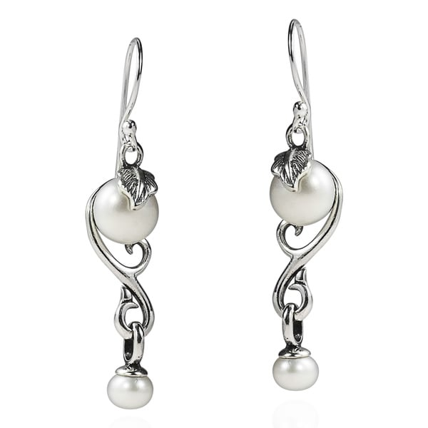Vintage Inspiration Pearl Drop .925 Silver Dangle Earrings (Thailand)