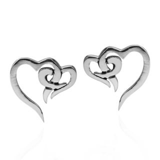 Forever Love Heart Sterling Silver Post Earrings (Thailand)