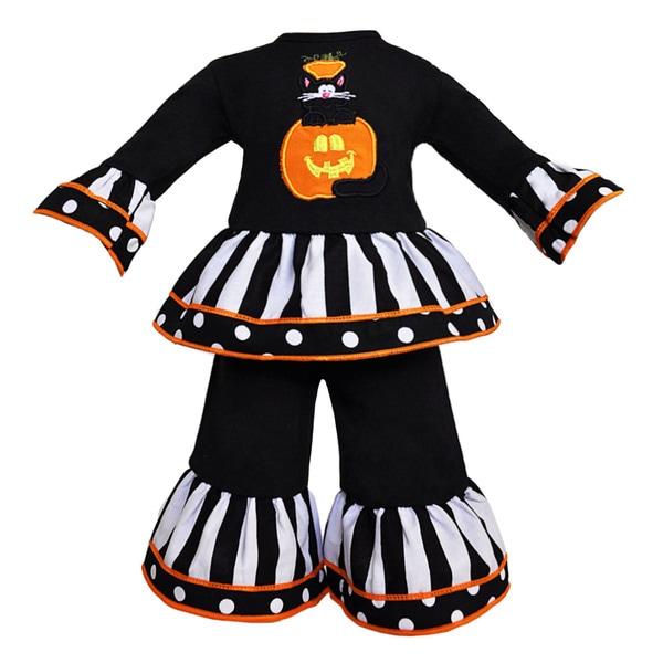 AnnLoren Halloween Black Cat in Pumpkin Doll Outfit