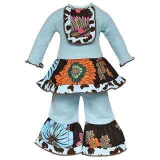 AnnLoren Chocolate and Blue Leopard Floral Doll Outfit