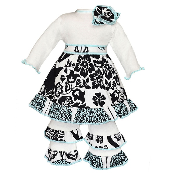 AnnLoren Country Cream Floral Dress and Leopard Ruffle Doll Outfit