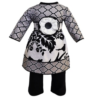 AnnLoren Winter Lattice and Floral Dress and Legging Doll Outfit