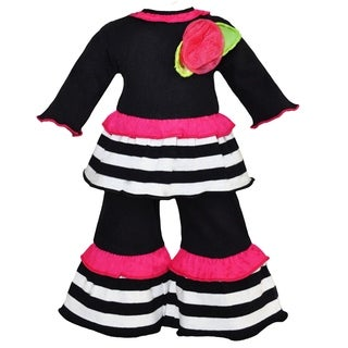 AnnLoren Black and White Stripes Pink Ruffle Doll Outfit