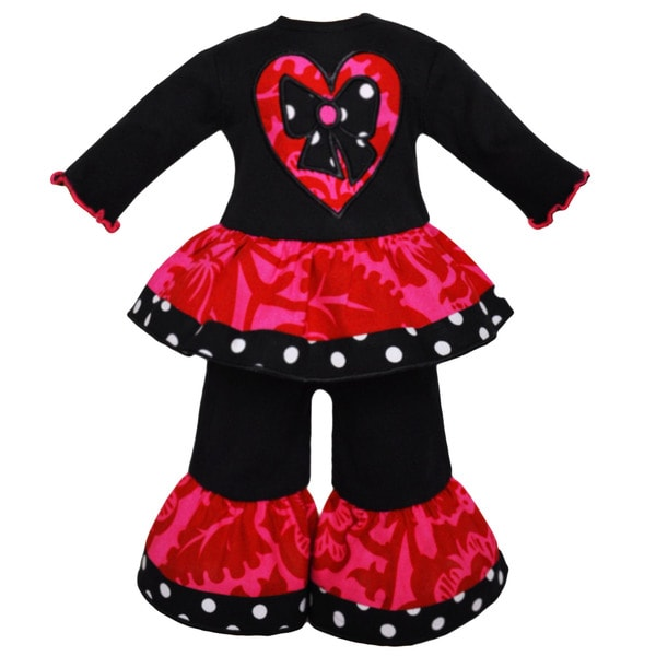 AnnLoren Hot Pink Floral Heart Doll Outfit