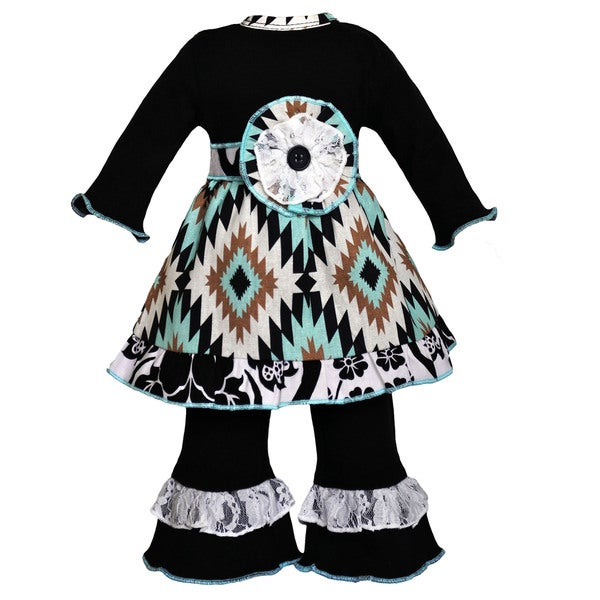 AnnLoren Aztec Lattice and Lace Doll Dress and Leggings