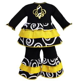 AnnLoren Fleur De Lis Black and Gold Ruffle Doll Outfit