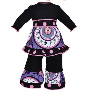 AnnLoren Purple Medallion and Pink Dots Ruffle Doll Outfit