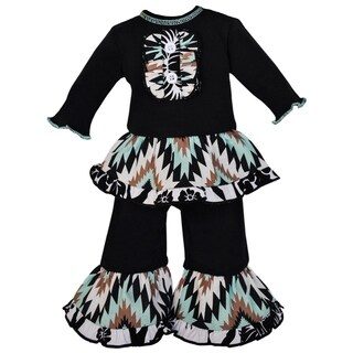 AnnLoren Aztec Lattice and Floral Ruffle Doll Clothing Set