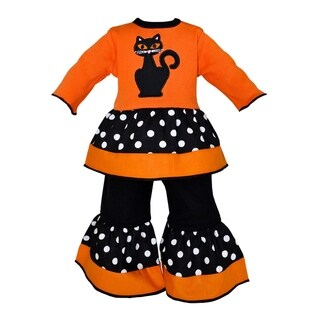 AnnLoren Orange Halloween Black Cat and Polka Dots 2-piece Doll Outfit
