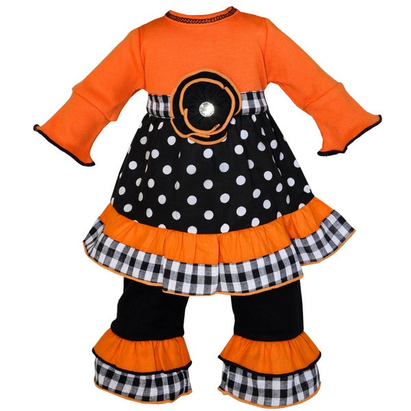 AnnLoren Autumn Orange and Black Polka Dot Doll Dress/ Pants Outfit