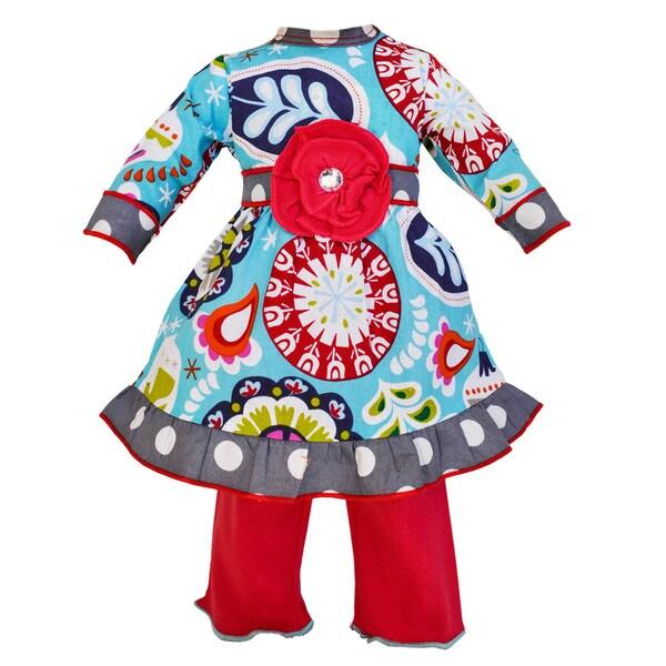 AnnLoren Christmas Floral and Polka Dots Holiday Dress and Leggings