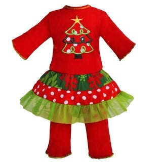 AnnLoren Damask and Dots Christmas Tree Outfit