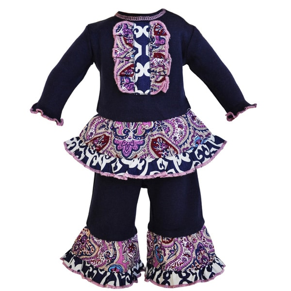 AnnLoren Purple Paisley and Navy Blue Lattice Doll Outfit